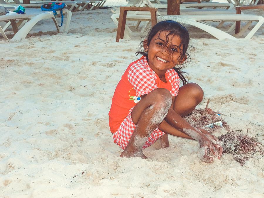 Shalini Playing On The Sandy Beach