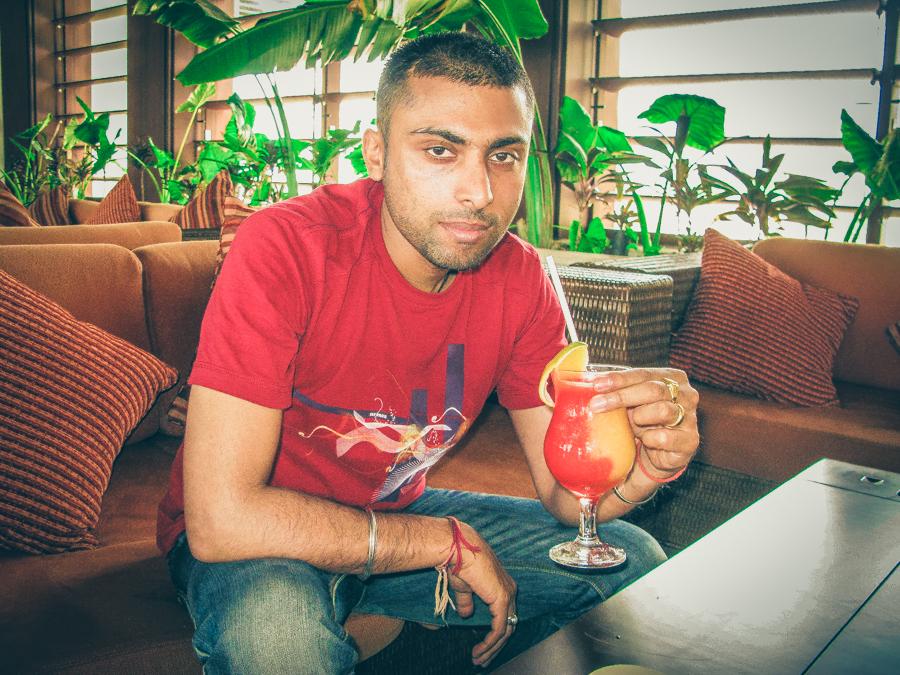 Sukh Drinking A Mango Tango In The Lobby