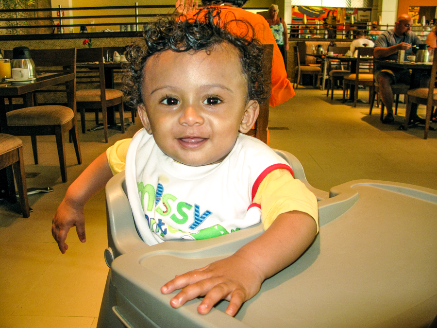 Shivam In His Highchair At The World Cafe