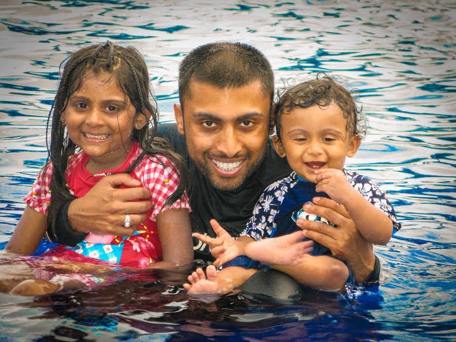 Sukh With The Kids In The Pool